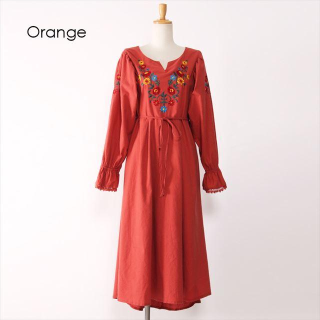 花柄刺繍ハイウエストロングワンピース 春 長袖 オレンジ