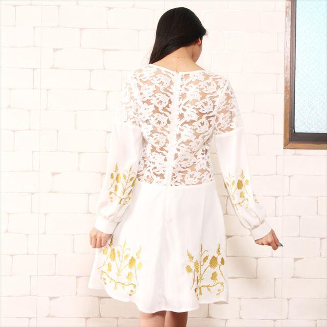 花柄刺繍レース切替ワンピース 結婚式 お呼ばれドレス ファッション 春夏