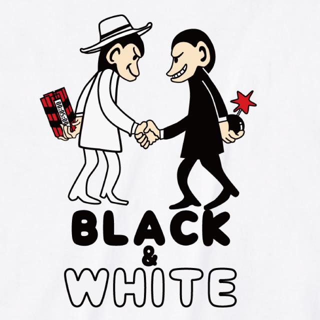 Black & White プリントTシャツ 半袖 オリジナル モンキー サル 動物 アニマル