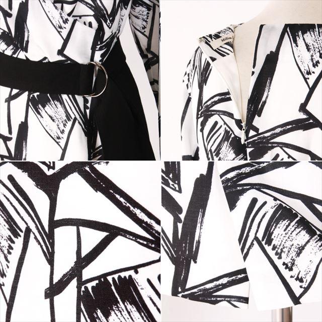 ベルト付き幾何学柄カシュクールワンピース 結婚式 二次会 膝丈 ファッション