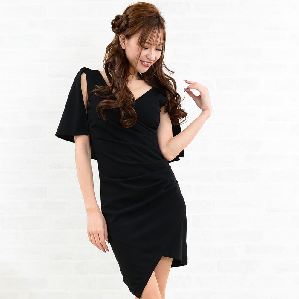 アシンメトリー深Vネックミニドレス キャバドレス パーティー お呼ばれ ファッション