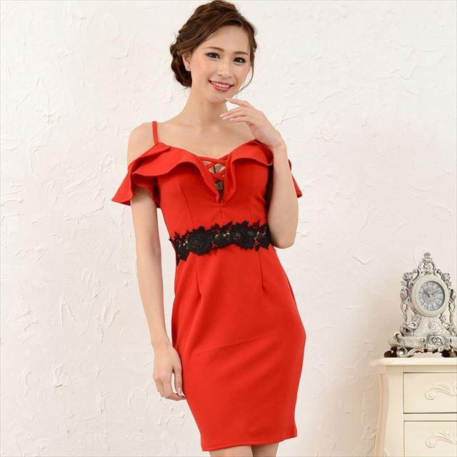 ウエストレースオフショルミニドレス キャバドレス お呼ばれドレス パーティー ファッション