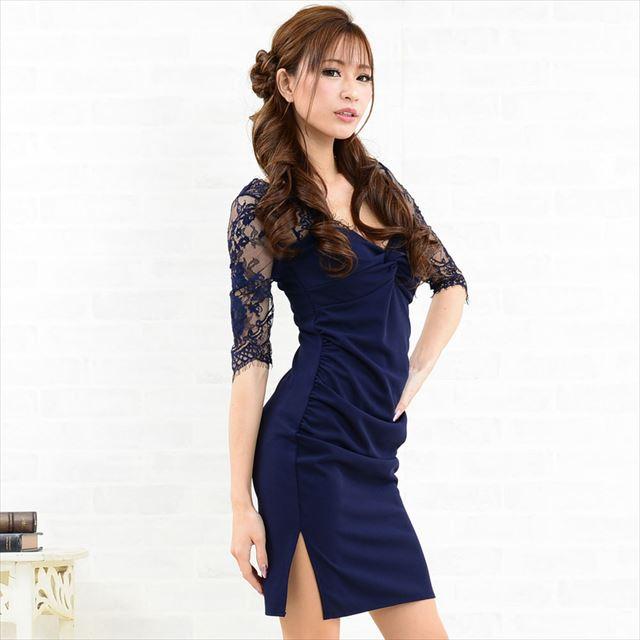 レース切替スリットミニドレス キャバドレス パーティー お呼ばれドレス ファッション