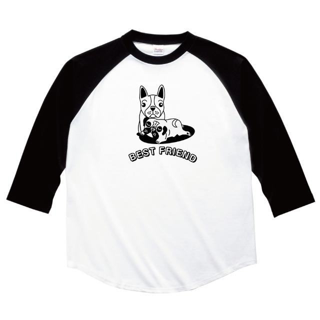 フレンチブルドックとパグの七分袖ラグランTシャツ オリジナル ファッション