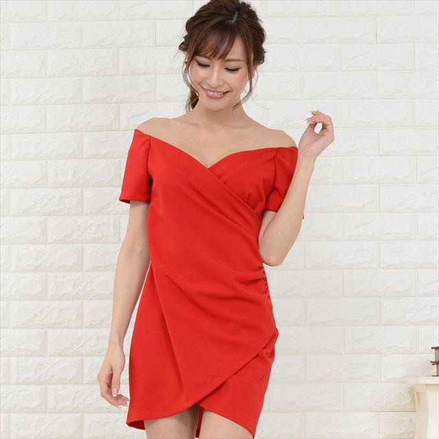 オフショルアシンメトリーミニドレス キャバドレス お呼ばれドレス ファッション