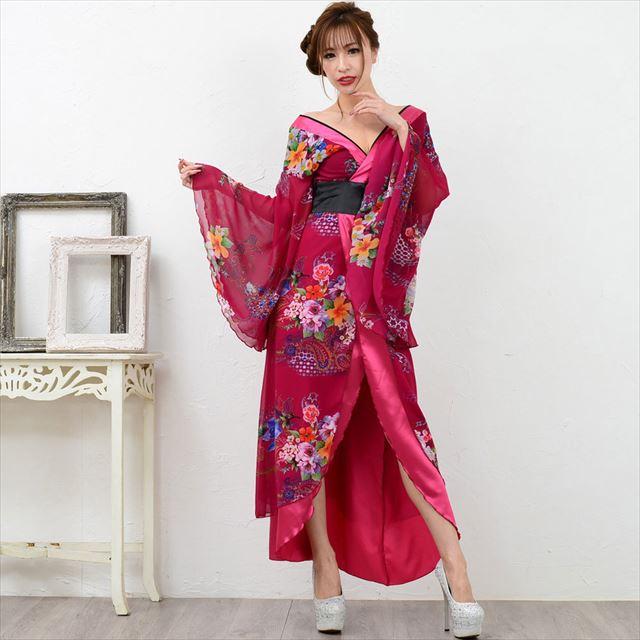 幅広V字衿ロング着物ドレス キャバドレス ダンス 衣装 舞台 セクシー