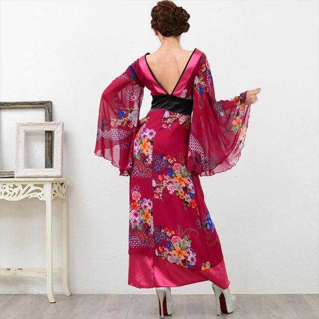 幅広V字衿ロング着物ドレス キャバドレス ダンス 衣装 舞台 セクシ
