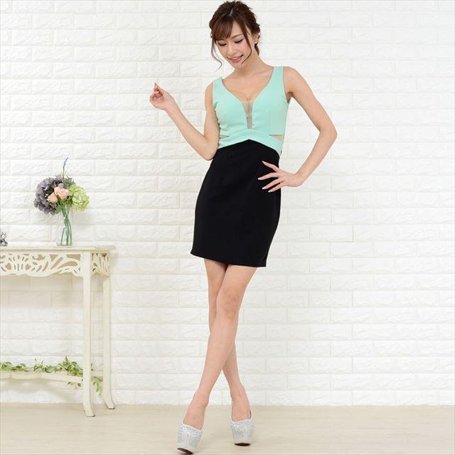 胸元とウエスト透け魅せ切り替えミニドレス キャバドレス お呼ばれドレス セクシー ファッション