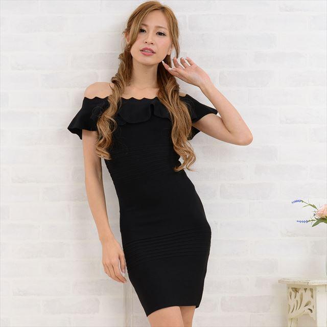 フリルオフショルバンテージミニドレス キャバドレス お呼ばれドレス 結婚式 パーティー セクシー ファッション