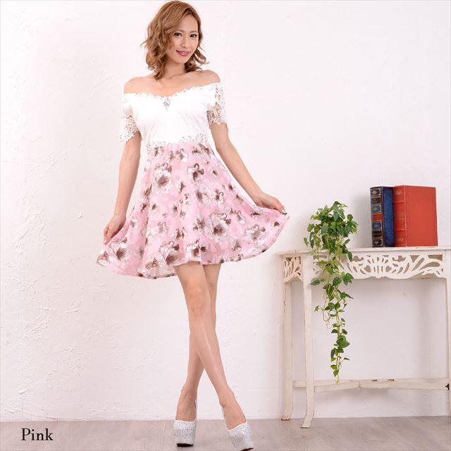 レース花柄切替オフショルミニドレス 結婚式 二次会 お呼ばれドレス ファッション