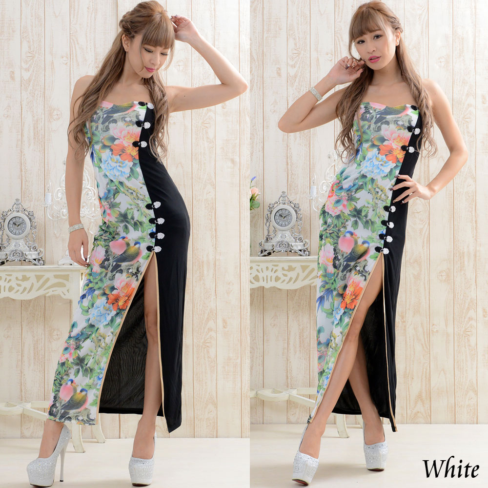 花柄ロングチャイナドレス キャバドレス コスプレ 撮影 ファッション ハロウィン 衣装