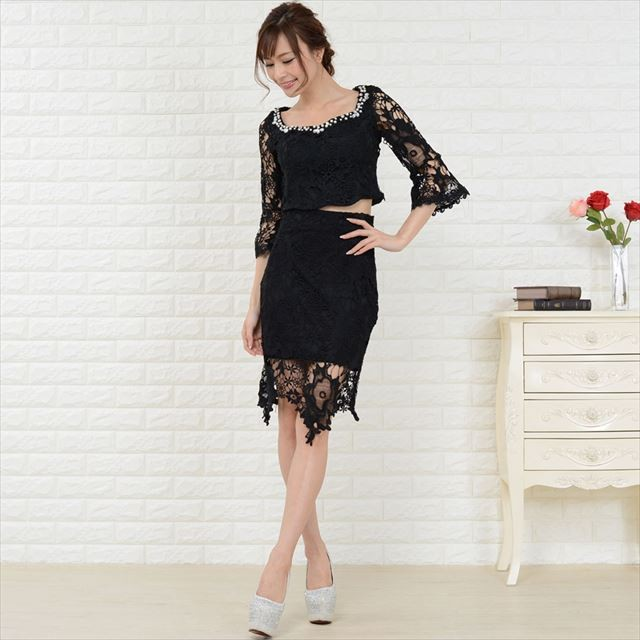 総レースセットアップミニドレス キャバドレス お呼ばれドレス パーティー ファッション
