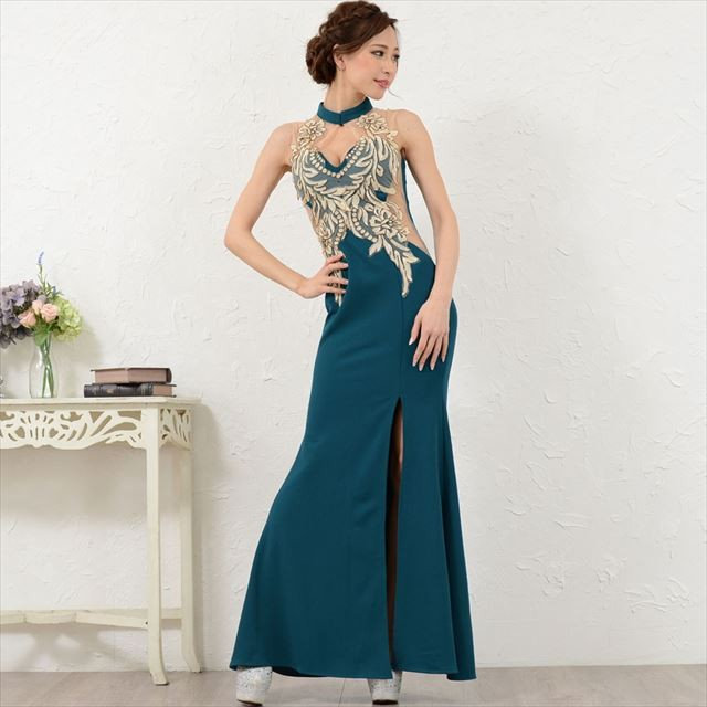 刺繍シフォンスリット入りロングドレス セクシー キャバドレス お呼ばれドレス パーティー ファッション