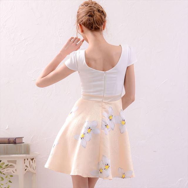 花柄切替フレアミニドレス 結婚式 二次会 キャバドレス お呼ばれドレス