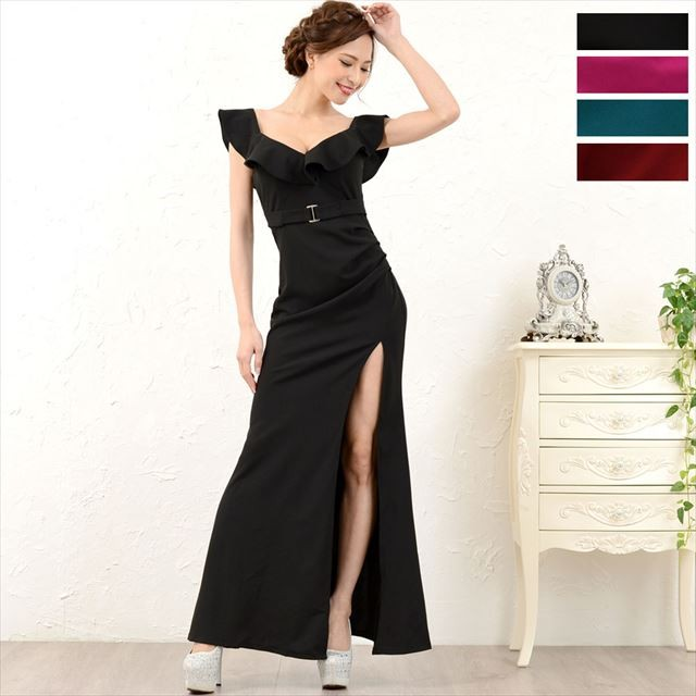 フリルロングドレス キャバドレス お呼ばれドレス パーティー 通販