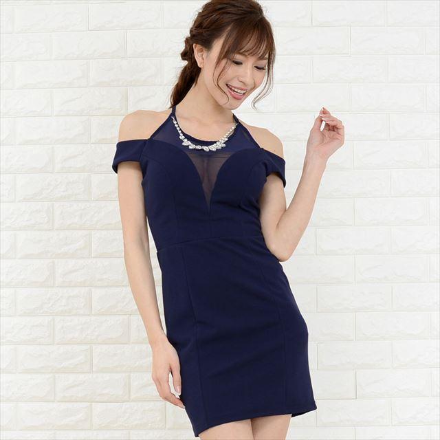 タイトミニドレス アクセサリー付き キャバドレス お呼ばれドレス ファッション