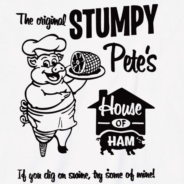 STUMPY プリントTシャツ オリジナル ブタ コック 英字 ロゴ