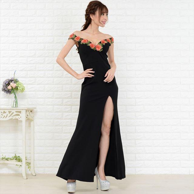 花柄刺繍スリットロングドレス キャバドレス お呼ばれドレス パーティードレス レディースファッション