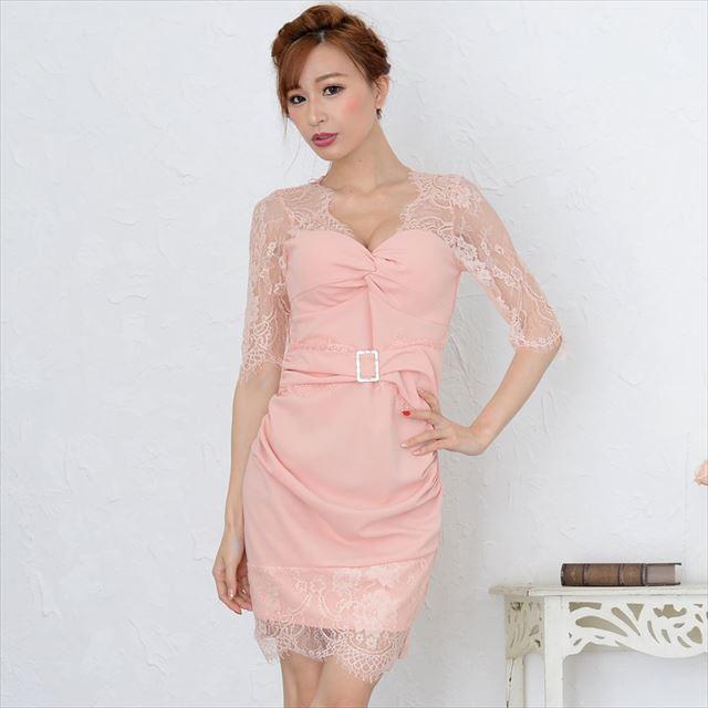 ラインストーンバックルレースミニドレス キャバドレス お呼ばれドレス レディースファッション
