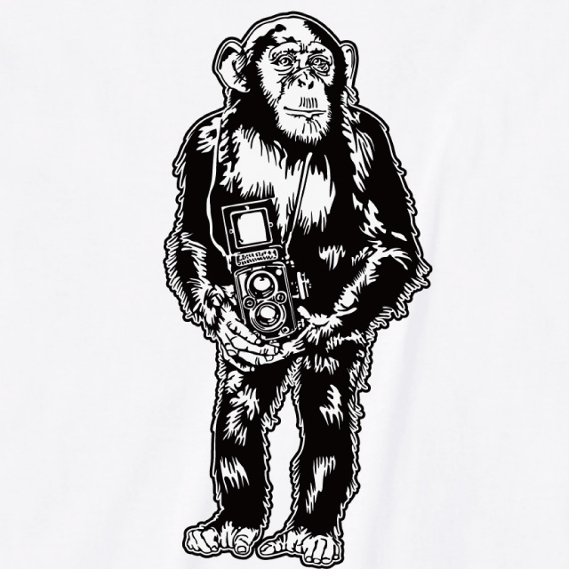 チンパンジーカメラ プリントTシャツ