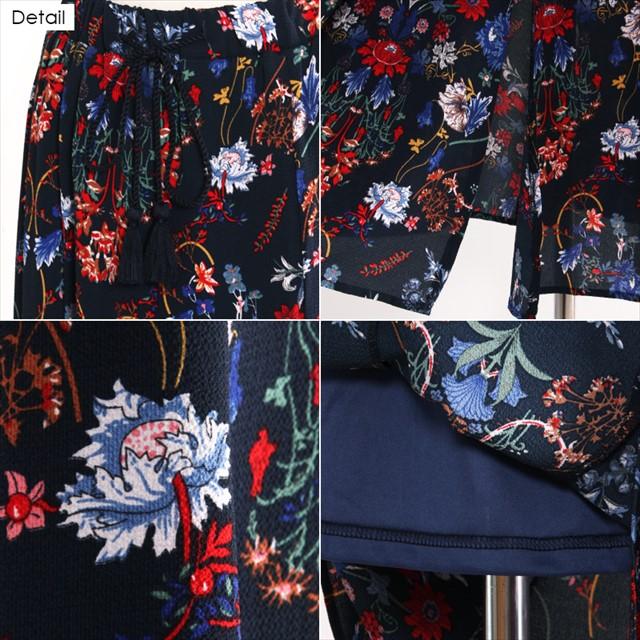 花柄ロングスカート 裏地付き フェミニン カジュアル