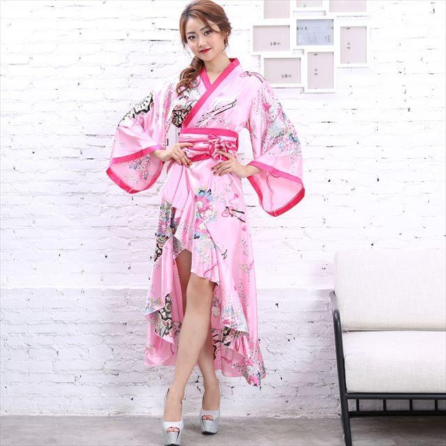 サテンフリル花魁ロング着物ドレス