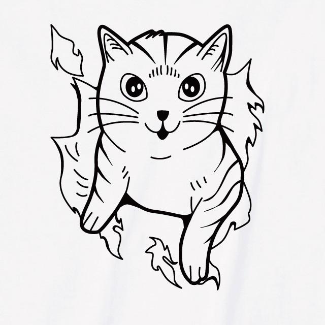 突き破った猫プリントTシャツ おもしろ 動物 プリント ロゴ