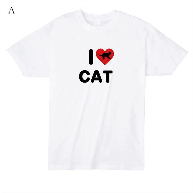 I LOVE CATプリントTシャツ