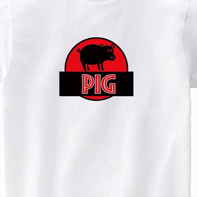 ブタのシルエットロゴプリントTシャツ