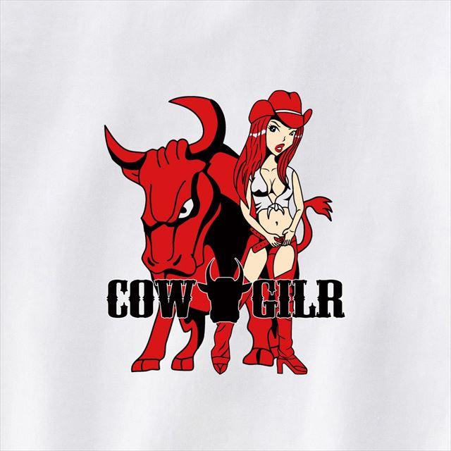 カウガールプリントTシャツ キャラクター おもしろ シルクスクリーン 牛 動物 アニマル
