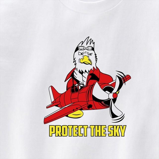 鳥パイロットとプロペラ戦闘機プリントTシャツ