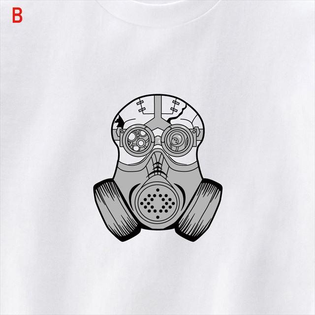 スチームパンクスカルマスクプリントTシャツ