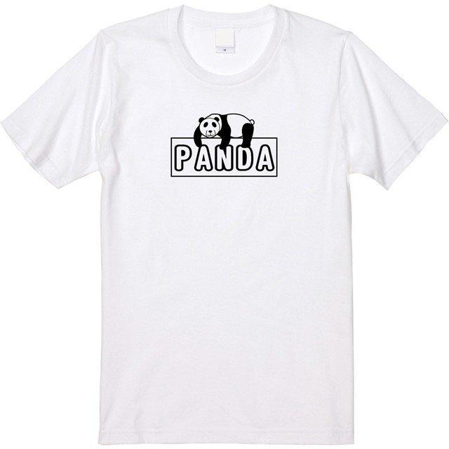 だらけたお昼寝パンダロゴプリントTシャツ
