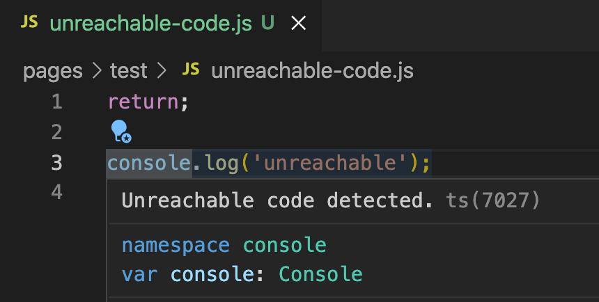 到達不可能コードはESLintが検知