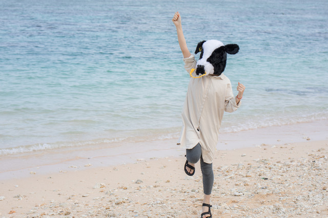砂浜で元気いっぱいの牛ガール