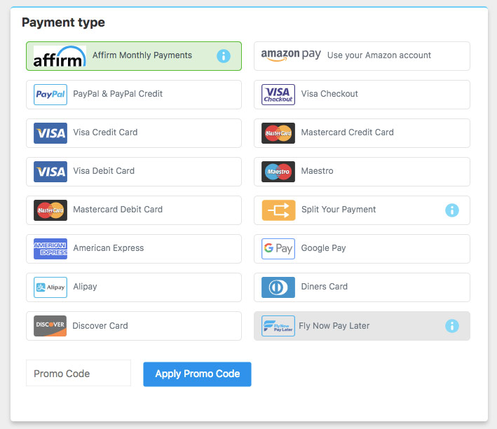 Pay with Affirm (Alternative Airlines 公式サイトより)