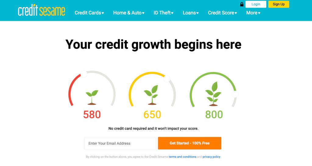 クレジットスコアモニタリングの「Credit Sesame」
