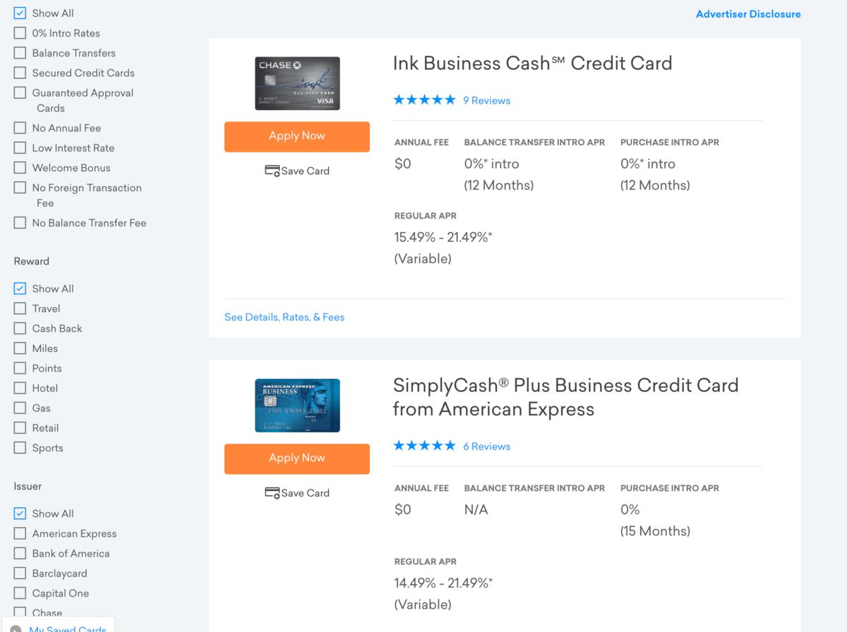 クレジットカードやローンの比較検索機能もある