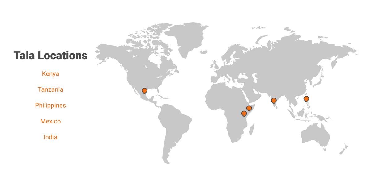 Tala は世界5カ国で展開している