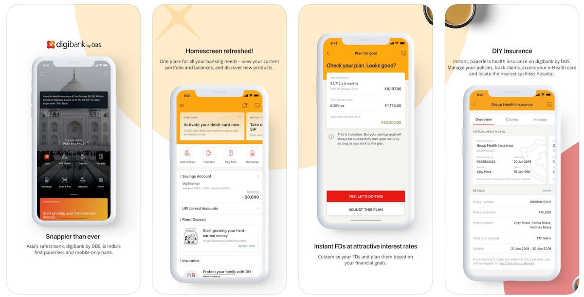 DBS銀行のバンキングアプリ
