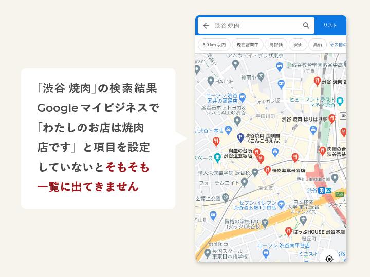 Googleマップの検索結果一覧画面に掲載するには、マイビジネス が登録が必要です