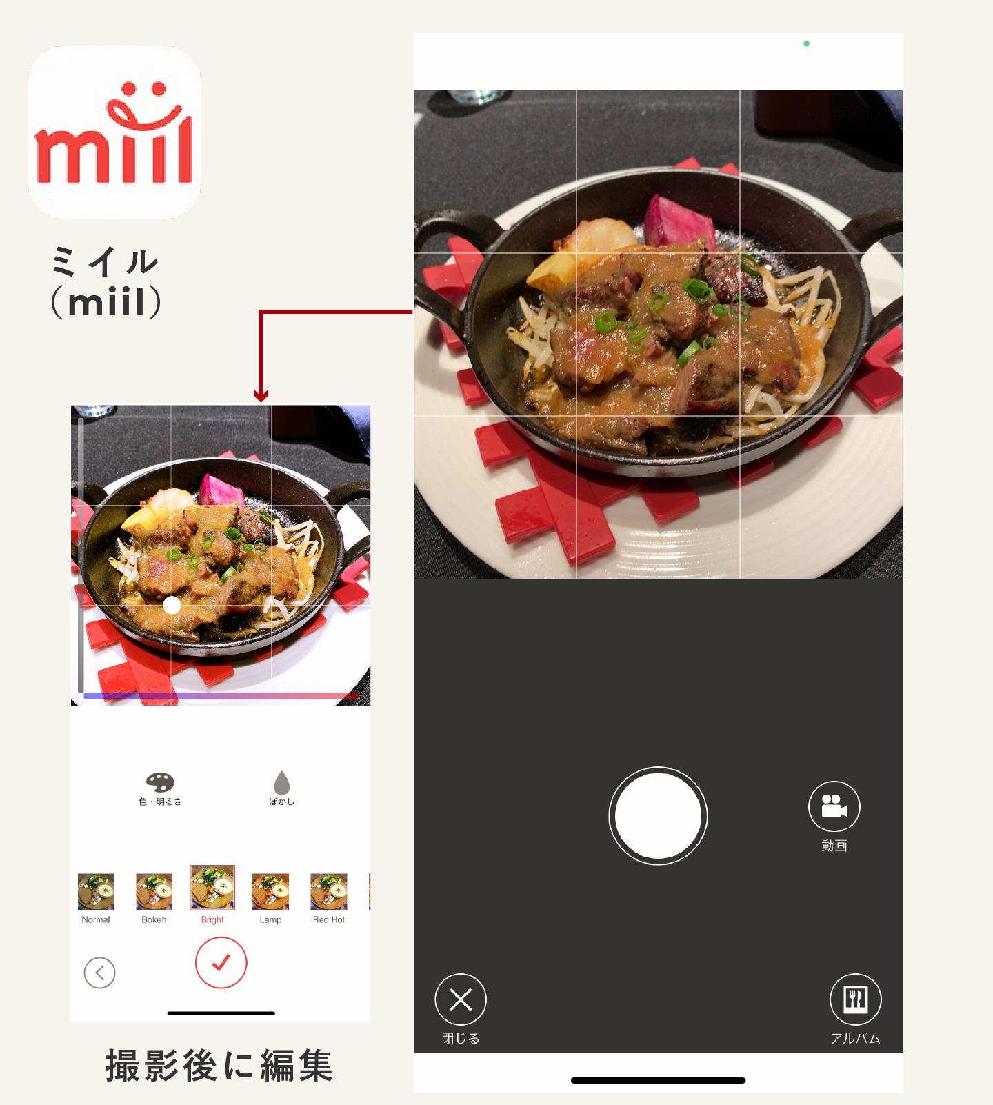 料理写真をSNSにあげようミイル