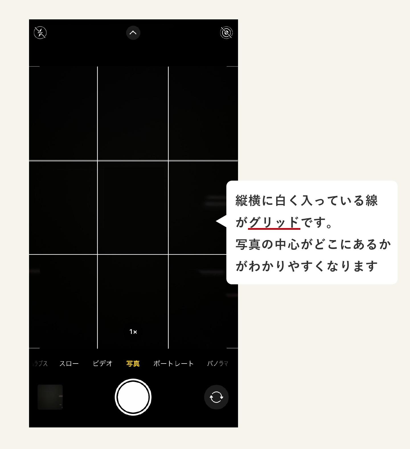 カメラのグリッド線の見本