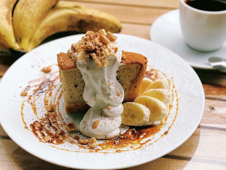 バナナキャラメルナッツのシフォンケーキ