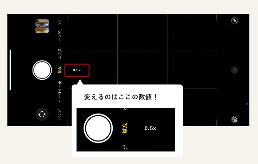 iPhone搭載の標準カメラで広角設定した図