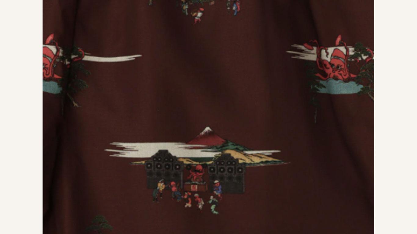 【築地銀だこ】コラボオープンカラーシャツ(ブラウン)のグラフィックアップ