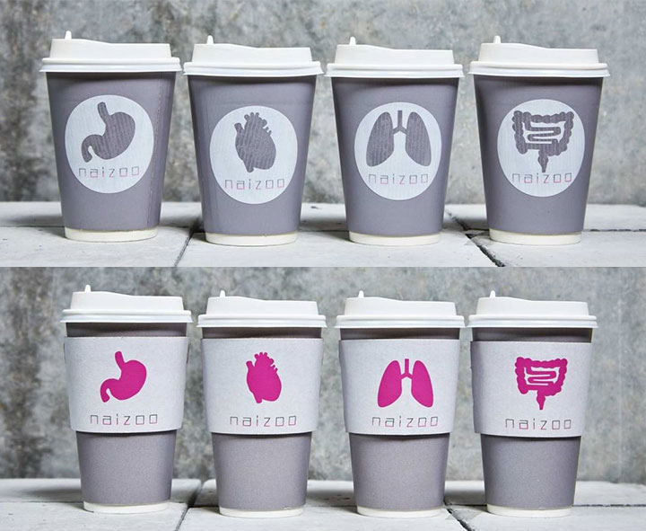 人臓がポップに描かれたカップはつい持ち歩きたくなってしまうほどのかわいさ。複数のデザインからお気に入りのデザインを選んで、サーバーから自分で注ぐのはとても楽しそうです