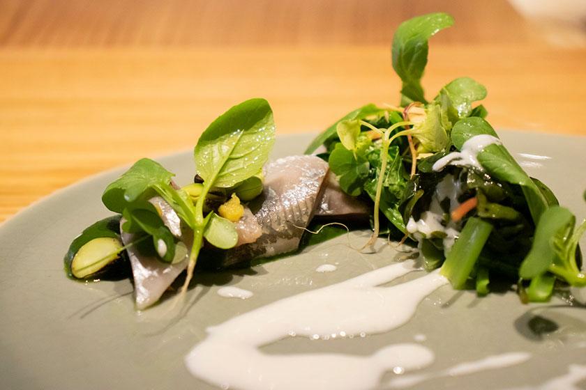 夏の緑野菜と真鰯のアップ
