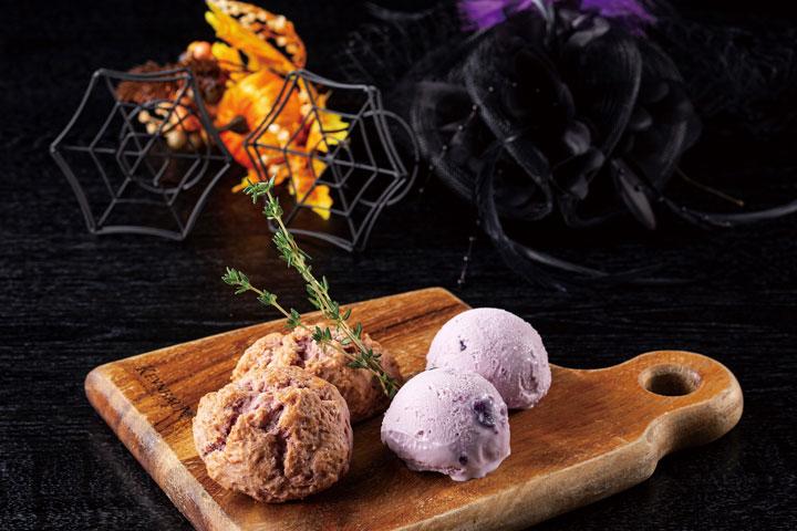 自家製スコーン 紫芋アイス添え 700円(税込)