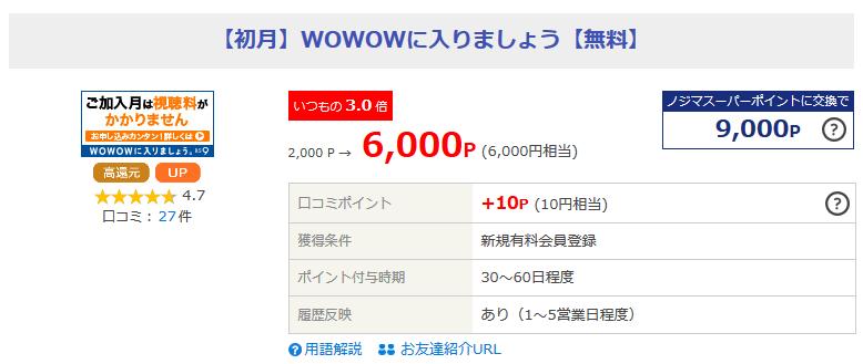 WOWOWオンライン加入でポイント獲得